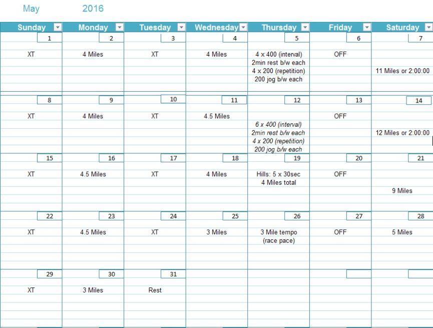 Half Marathon - May Schedule