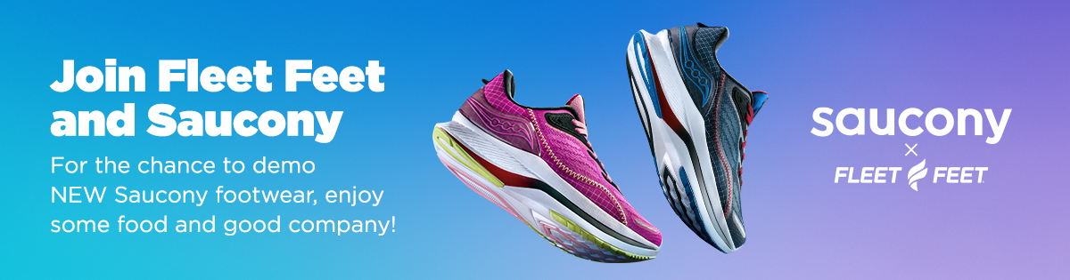 """3 shoes on blue/purple background with text """"Join Fleet Feet And Saucony..."""""""