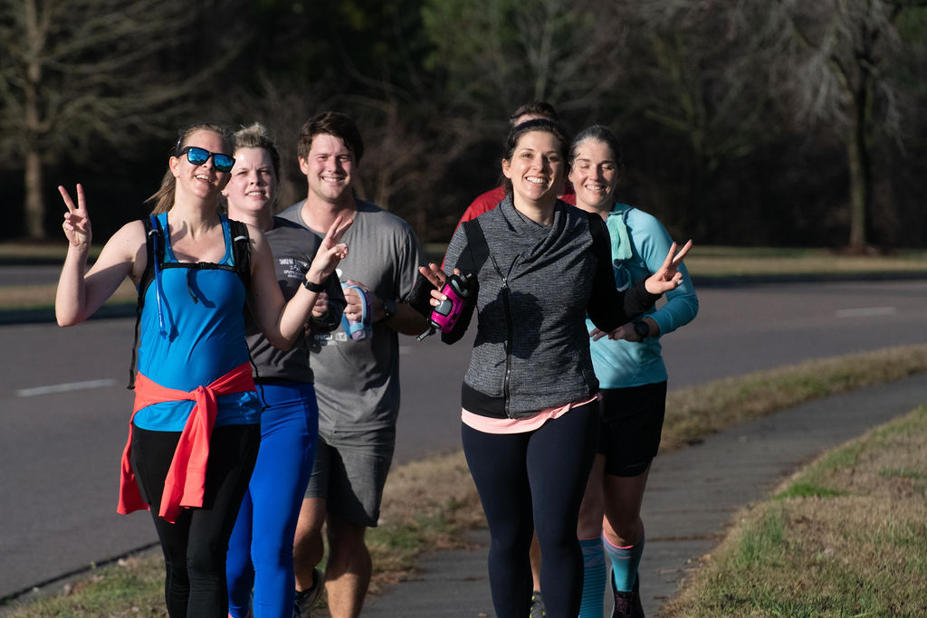 group of six runners