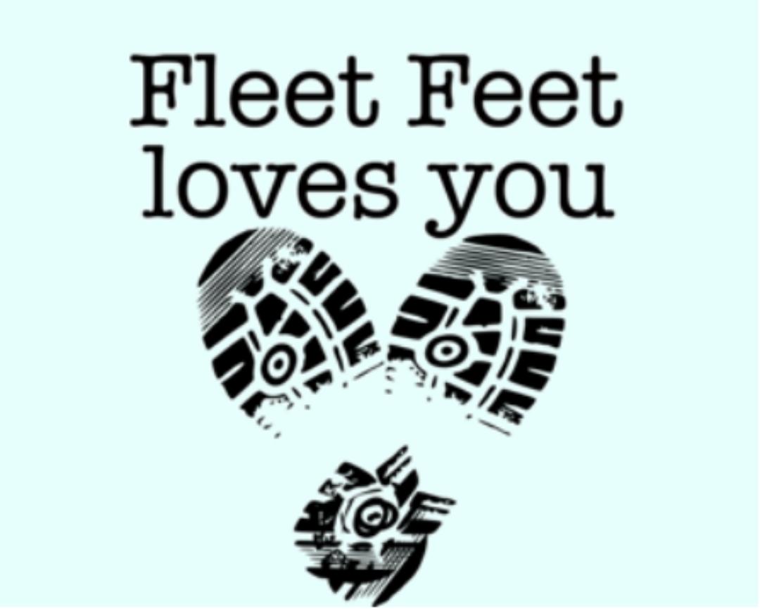 shoe prints making a heart shape with caption FLEET FEET LOVES YOU