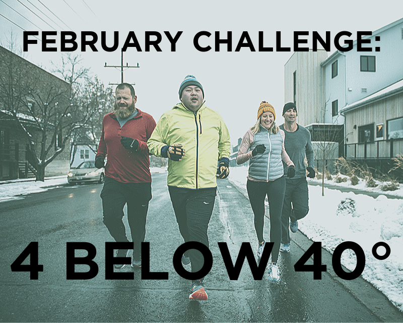 """four runners with caption """"FEBRUARY CHALLENGE: 4 BELOW 40 DEGREES"""""""
