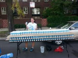 Big table with cups