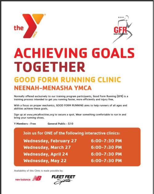 Good Form Running Clinics at the Neenah YMCA sponsored by Fleet Feet