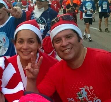 Alba and Ruben Santa Run