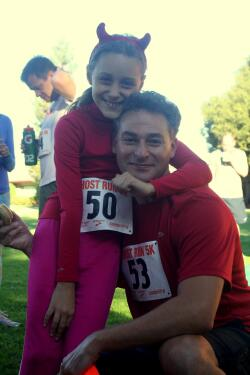 Dad and daughter at Ghost Run