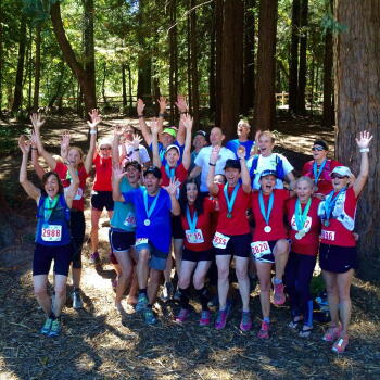 Trail runners in Portola Valley