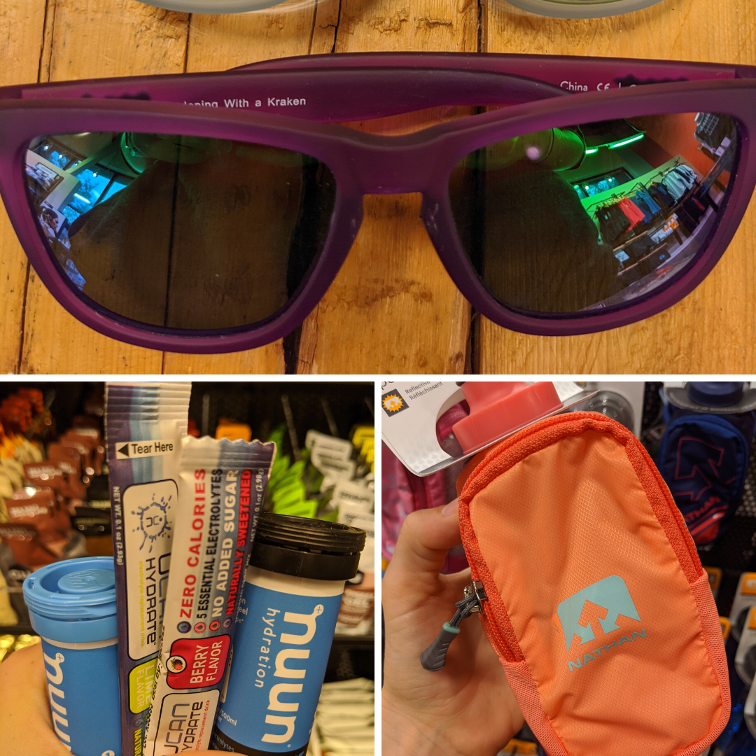 Running glasses, hydration products, hand held waterbottle.