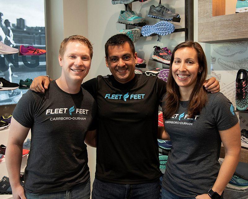 Three employees in Fleet Feet's LDP program
