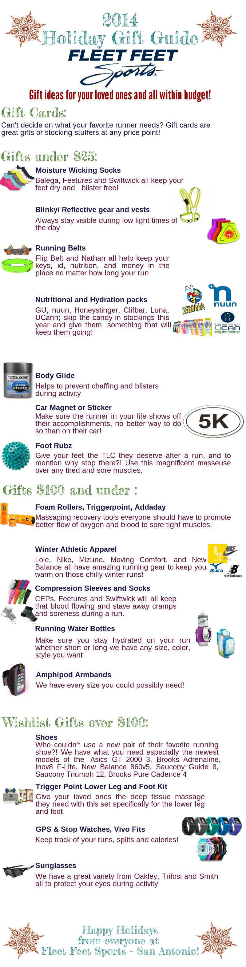 2014 Holiday Gift Guide Fleet Feet Sports San Antonio