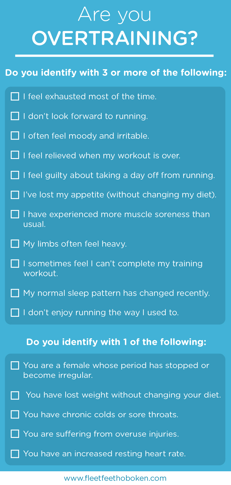list of signs of overtraining