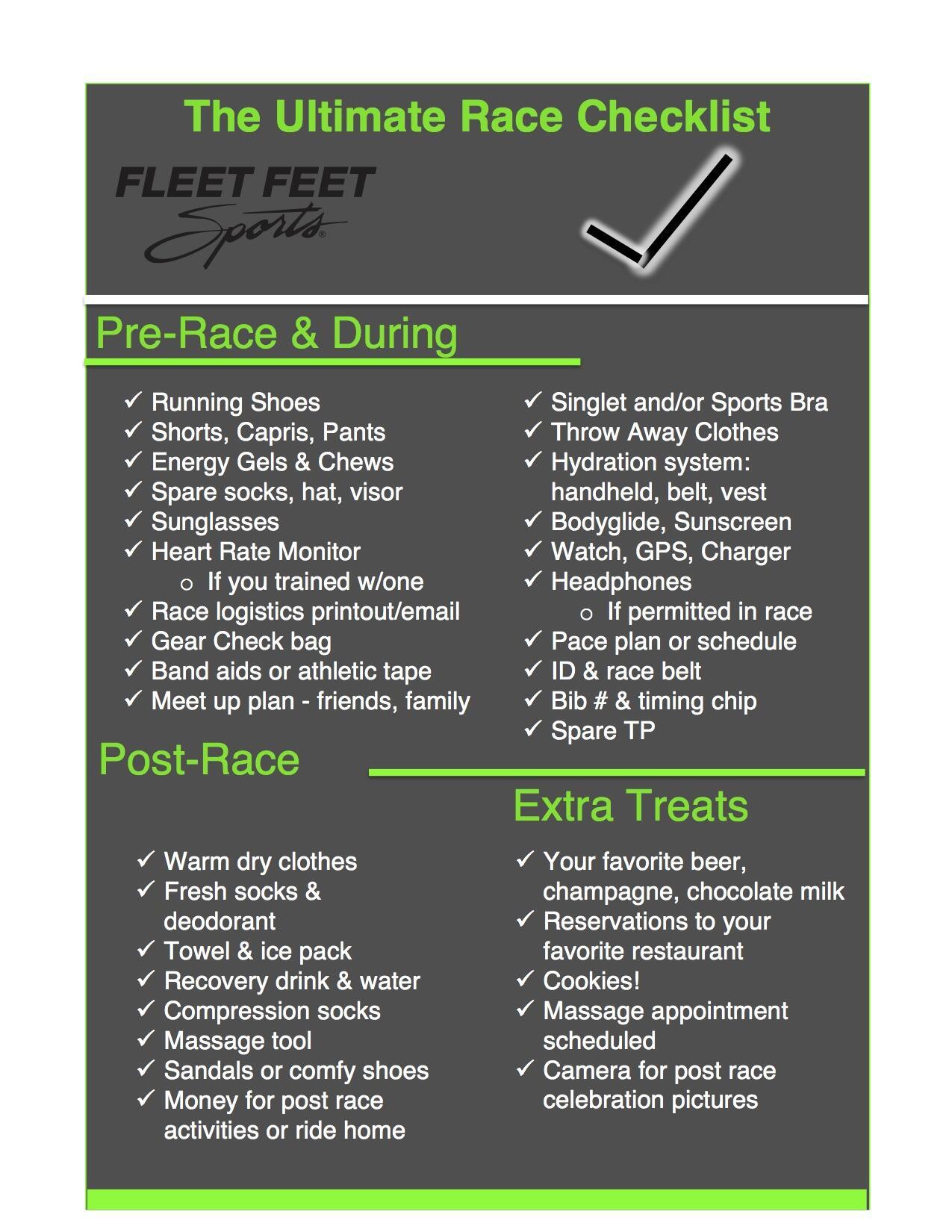 race checklist