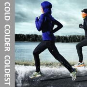 runner running in the cold and snow with text that reads cold colder coldest