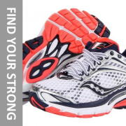 saucony triumph 11 running shoes with text that reads find your strong