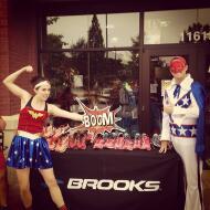 Brooks SuperCaper Fun Run Wonder Woman and Evil Knieval