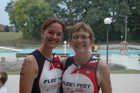 Kyli and Dana at a triathlon