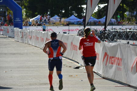 Shahin and Kyli in run portion of IM