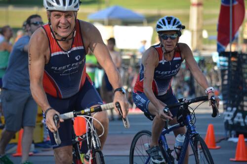 Bill and MaryJane biking in a triathlon