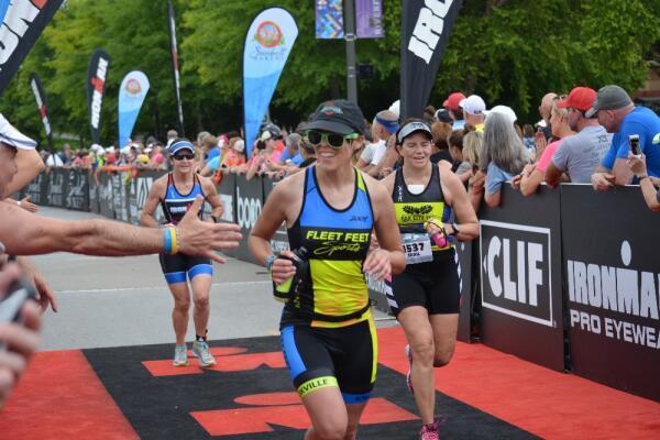 Sarah finishing IRONMAN 70.3 Chattanooga