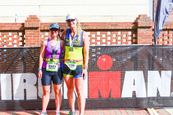 Laura and Jen after Ironman Augusta 70.3