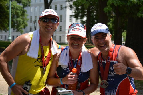 Debbie with Jon and Shahin after 2015 Raleigh 70.3