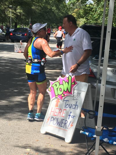 Debbie and her husband during IRONMAN 70.3 Augusta