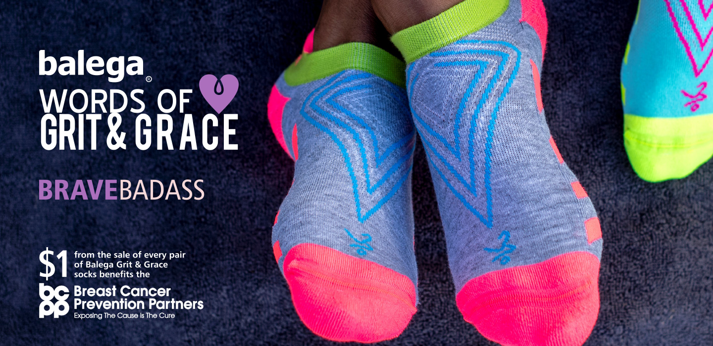 Balega Womens Grit and Grace No Show Running Socks In Association With Breast Cancer Prevention Partners