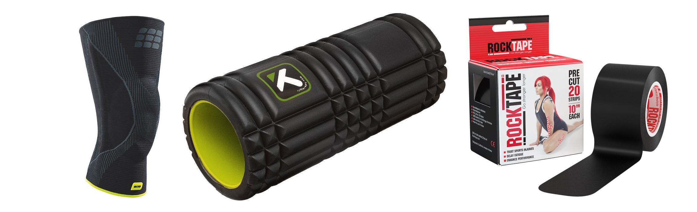 rock tape foam  roller and knee brace