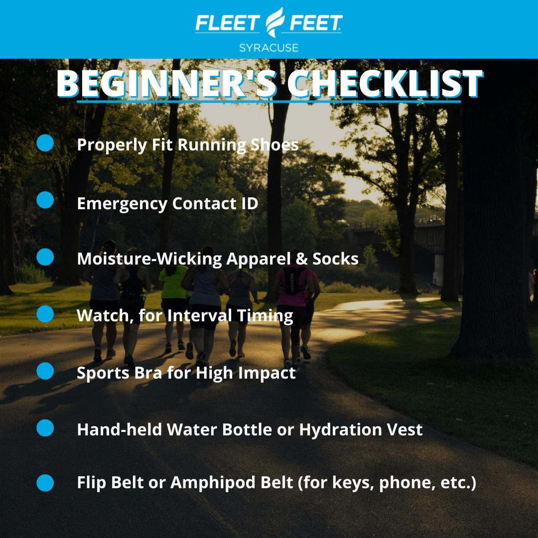 Beginners running checklist fleet feet syracuse ny