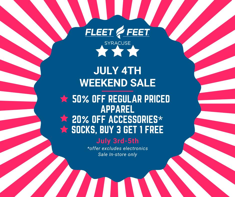 fourth of july sale at fleet feet syracuse