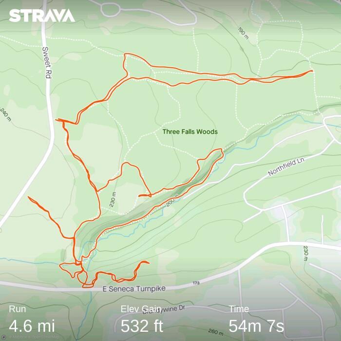 strava trail route three falls wood ffsyr
