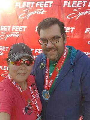 Nick and Loni in their second 5K last April (2016)