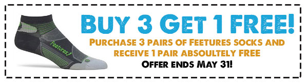 Feetures Sock Promotion - Buy 3 Get 1 Free during May