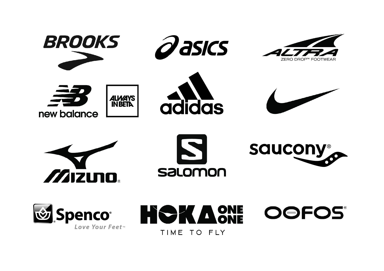 shoe brands logo ADIDAS ASICS BROOKS MIZUNO NEW BALANCE NIKE SAUCONY ALTRA SALOMON SPENCO HOKA