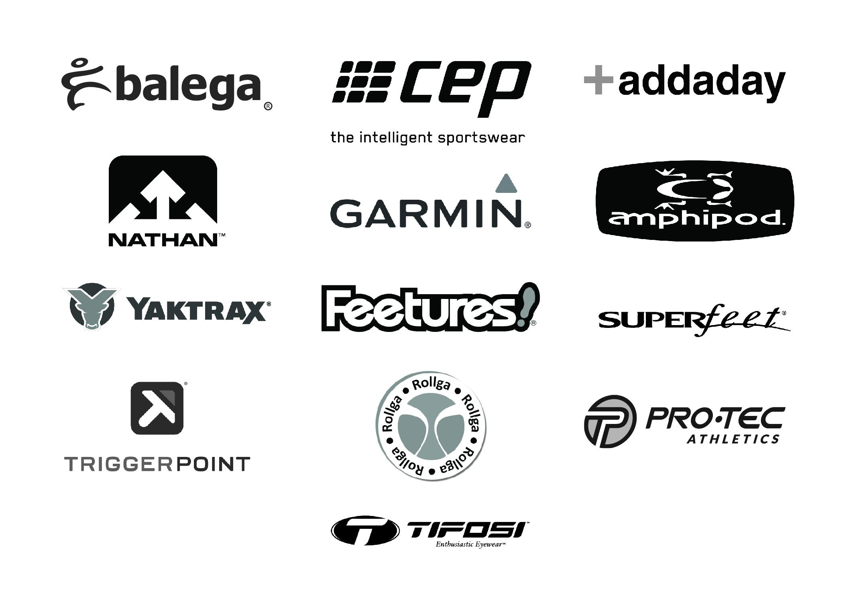 accessories logos balega, cep, addaday, nathan, garmin, amphipod, superfeet, feetures! yaktrax, triggerpoint, rollga, pro tec, tifosi, hammer nutrition, honey stinger, nuun, gu, huma, clif, skratch labs, recovery tools, fuel.