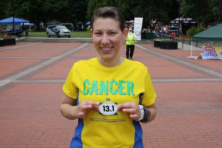 Libby at her first half marathon with the Cancer to 5k program