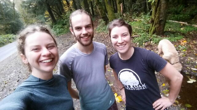Here I am with a couple of my favorite running buddies post trail run.