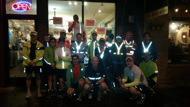 The Fleet Feet Tacoma Tuesday night run group always lights up before heading out.