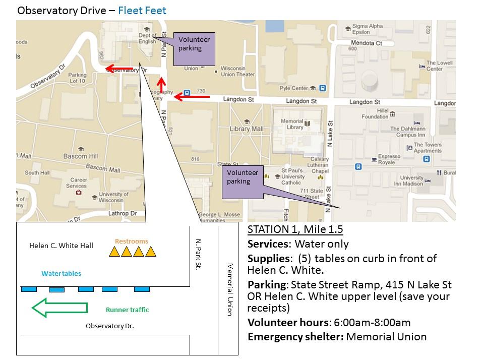 Fleet Feet Sports Water Stop for Madison Half Marathon Spring 2015