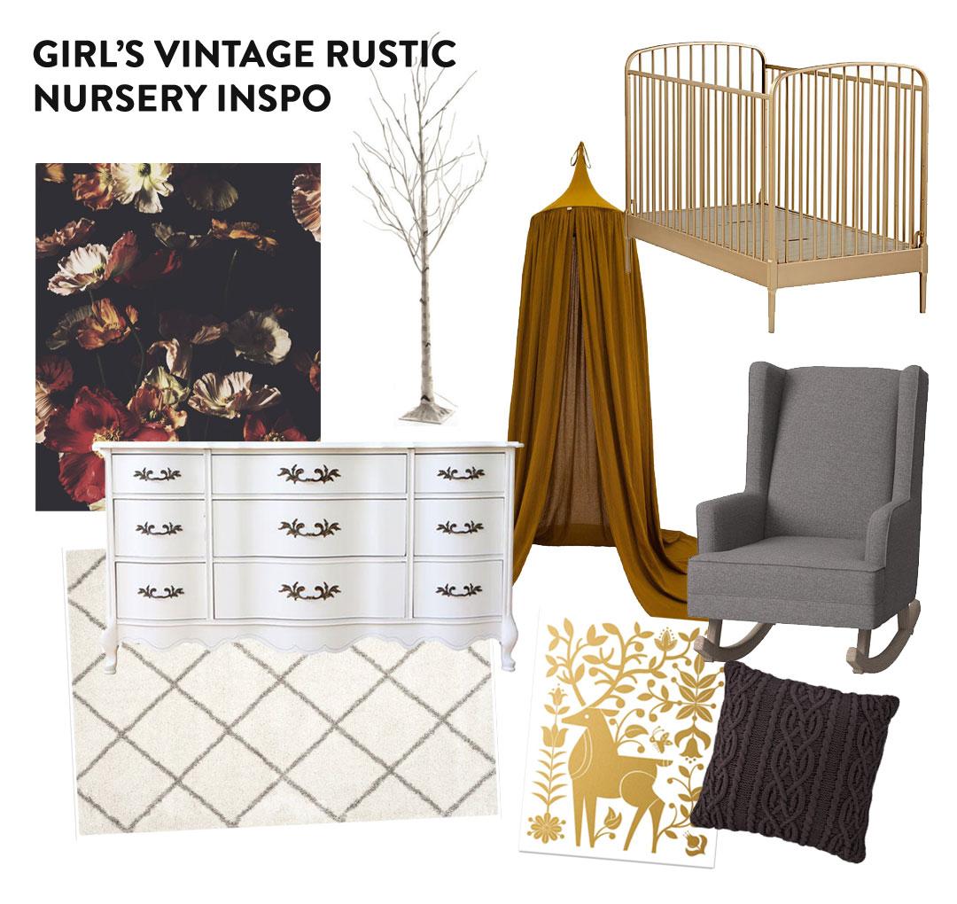 Girl's Vintage Rustic Nursery Inspo