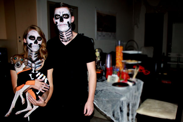 Eric, Ashley and Bella dressed as skeletons for Halloween