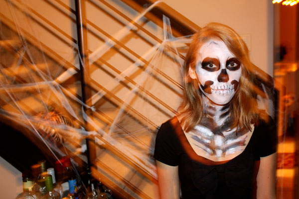 Dressed as a skeleton for the halloween party