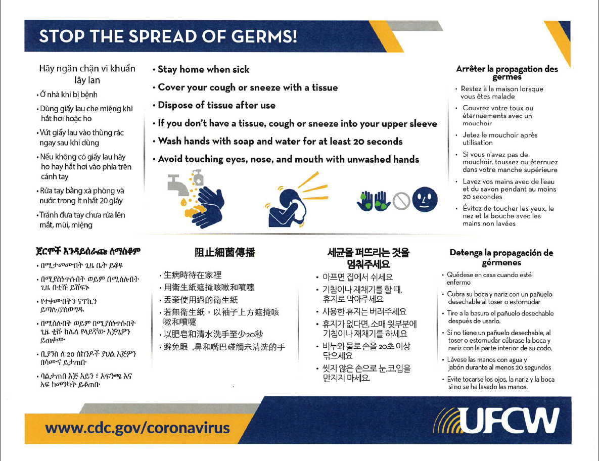 Coronavirus Health Tips Various Languages