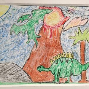 Jurassic Park (Oil Pastel) - Alessandro