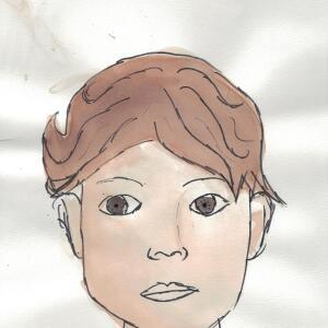 Contour Line Portrait (Watercolor) - Abby