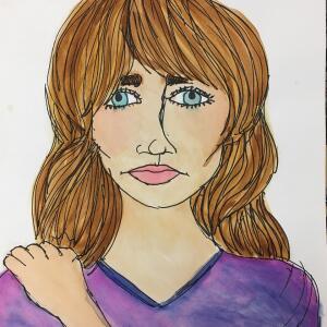 Contour Line Portrait (Watercolor) - Alanis