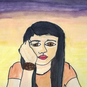 Contour Line Portrait (Watercolor) - Angela