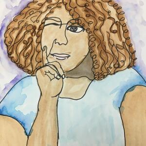 Contour Line Portrait (Watercolor) - April