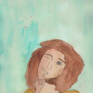 Contour Line Portrait (Watercolor) - Aubree