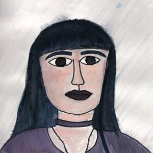Contour Line Portrait (Watercolor) - Ayleen