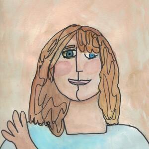 Contour Line Portrait (Watercolor) - Eden